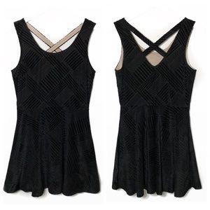 Candies Skater Crossback Dress Black Velvet Velour